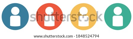 4 colorful Buttons blue, red, orange and green showing: Person, Account or User Сток-фото ©