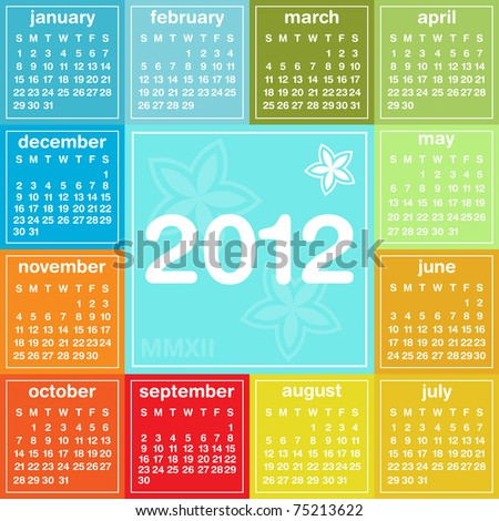 2012 colorful calendar, weeks start on Sunday