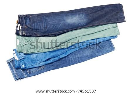 colorful denim/jeans bunch/pile