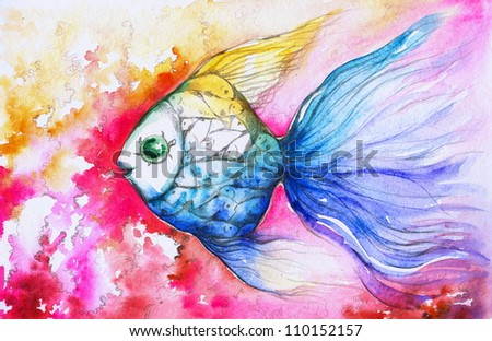 Colorful Fish Painting Fish Watercolor Painted
