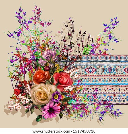 colorful floral ethnic embroidered scarf design
