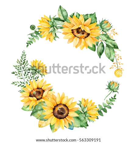 ?Colorful floral wreath with sunflowers,leaves,foliage,branches,fern leaves and place for your text..Perfect for wedding,quotes,Birthday,boho style,invitations,greeting cards,print,blogs etc