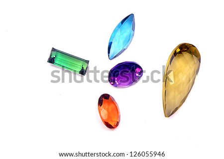 5 colorful gems isolated on white background