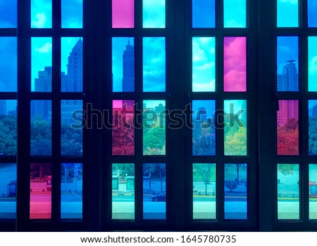 Colorful glass, colorful city and colorful life.