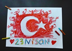 Colorful hand drawing made with Turkish flag gouache paint for April 23 Children's Day. Translation of the text below: April 23