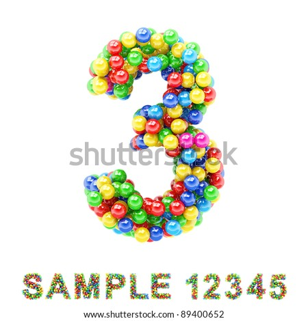 3: Colorful letters and numbers on white background - stock photo