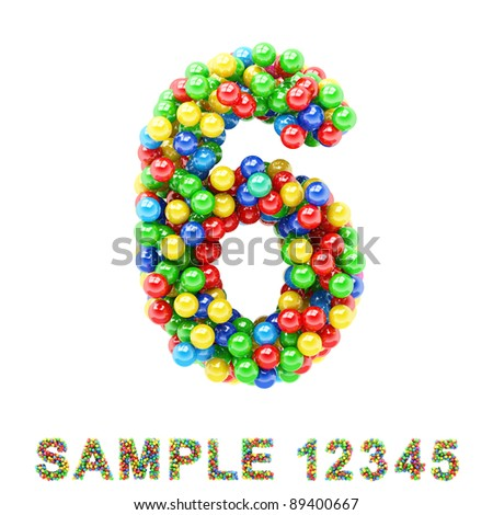 6: Colorful letters and numbers on white background