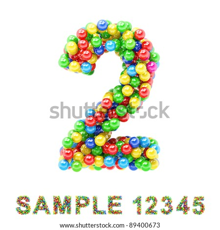 2: Colorful letters and numbers on white background