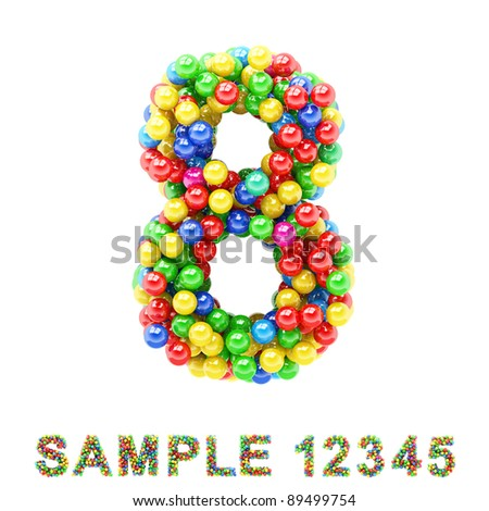 8: Colorful letters and numbers on white background