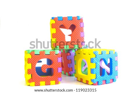 colorful of toy puzzle cube or dice in textured foam for kids to learn their alphabet