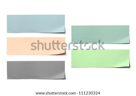 colorful paper label post on white background.
