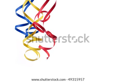 colorful paper streamer isolated on white background