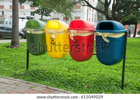 Colorful Recycle Bins For Collection Of Recycle Materials. Sao Paulo, Brazil