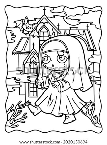 Coloring book kawaii. Halloween. Coloring book for children and adults. Horrible coloring pages. Nun. Lovely horror stories.