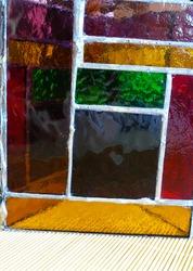 Colourful copper foil glass tealight cover