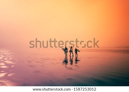 Colourful image. Early morning, surfers walking on the beach. Three surfers, walk along an ocean beach with their surfboards in hand. Сток-фото ©