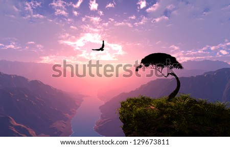 Colourful landscape on a background   of the sky
