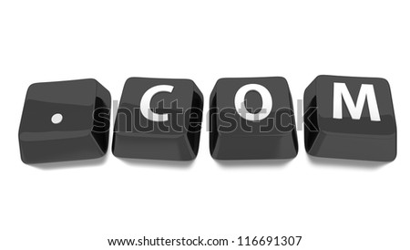.COM written in white on black computer keys. 3d illustration. Isolated background.