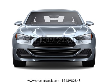 Compact silver car on a white background   - 3D Render Stockfoto ©