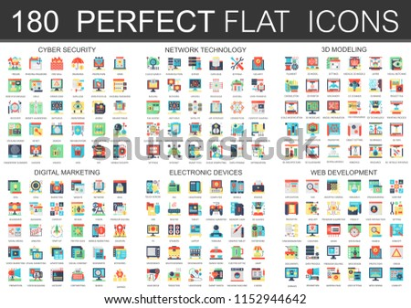 180  complex flat icons concept symbols of cyber security, network technology, web development, digital marketing, electronic devices, 3d modeling icons. Web infographic icon design.