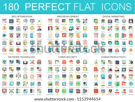 180  complex flat icons concept symbols of seo optimization, web development, digital marketing, network technology, cyber security, human productivity. Web infographic icon design.