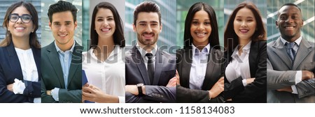 composition of business people smiling. concept of insurance, marketing and financial advice