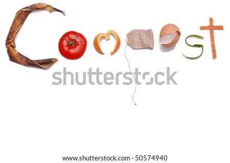 """""""Compost"""" Message written in Kitchen Scraps"""