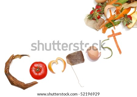 """""""Compost"""" Message written in Kitchen Scraps on an angle - stock photo"""