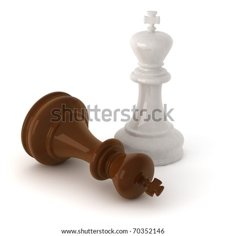 computer generated image of a  wooden chess king pieces isolated on white background with clipping path