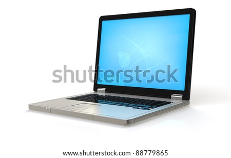 Computer Laptop. Laptop with blue Desktop. Ground Reflections