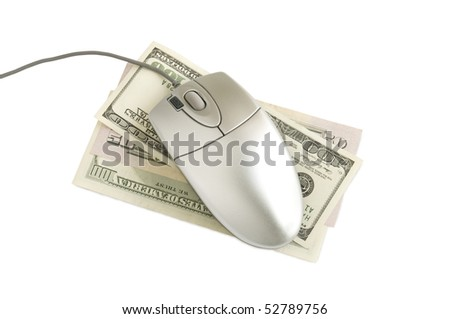 computer  mouse on the dollars