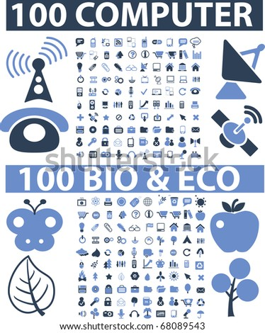 200 computer & nature signs. raster version