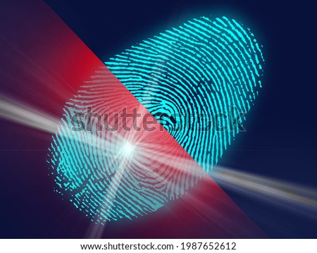 Concept of digital security, electronic fingerprint on scanning screen. Cyber security concept. Futuristic blue and red background. 3-D illustration fingerprint biometric technology. Stok fotoğraf ©