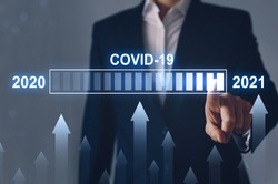 Concept of increasing cases in the Covid-19 pandemic in 2021 compared to 2020. The economic crisis and the post-Covid-19 era