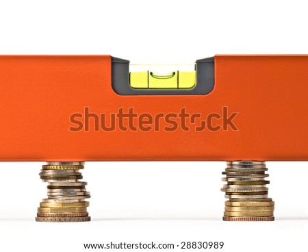 """conceptual image which may represent money balance, exchange rate, fair trade or """"fifty-fifty"""" on clear white background"""
