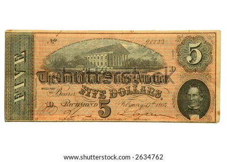$5 Confederate Banknote of the American Civil War, dated 1864.
