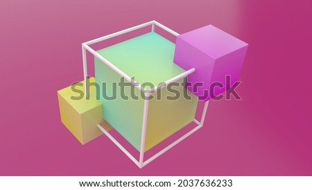 3 connected cubes on a pink background. Large cube and attached cubes inside the cube wireframe. Cube construction.