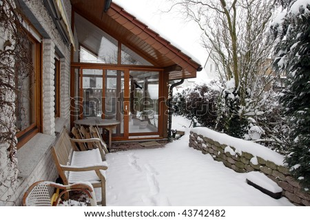 conservatory during winter, outside view