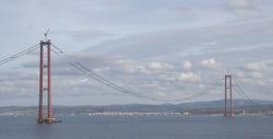 Construction of 1915 Canakkale Bridge. Canakkale-Turkey