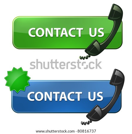 """Contact Us"" icon. Phone receiver and ""contact us ""  button. Raster version"