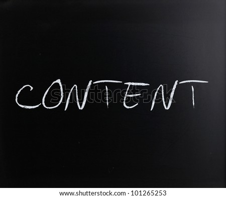 """Content"" handwritten with white chalk on a blackboard."