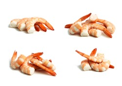 cooked shrimp without the peeled head, set of three or six on a white background with real shadow