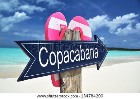 Copacabana sign on the beach