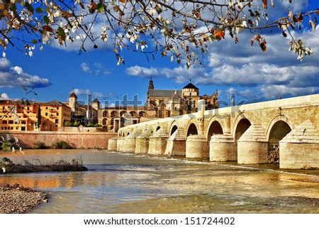 Cordoba. Andalusia. view with mosque and bridge