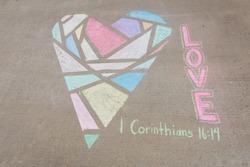 1 Corinthians 16:14 LOVE Geometric heart created with sidewalk chalk and painter's tape