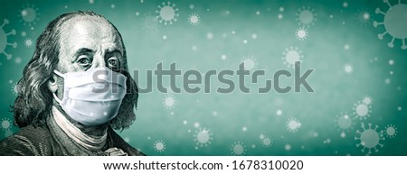 Corona virus In USA - Portrait Of Benjamin Franklin With Face Mask On Covid-19 Virus Background - Coronavirus Affects USA And Global Stock Market Concept Stock photo ©