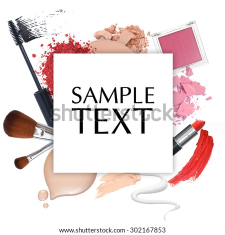 cosmetic promotion frame on a white background