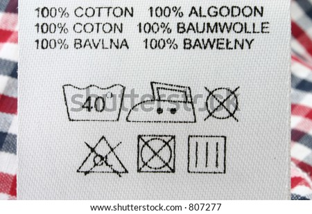 100% cotton  - real macro of clothing label #3