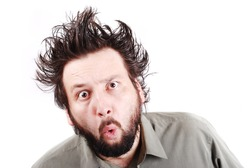 crazy young businessman facial expression, man with long hair up isolated, crazy, mad, funny, shocked, surprised