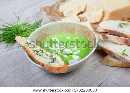 creamy spinach soup with pormesan Stock photo ©